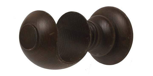 Hallis Modern Country 55mm Dark Oak Pole Button finial - Curtain Poles Emporium