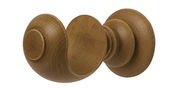 Hallis Modern Country 55mm Light Oak Pole Button finial - Curtain Poles Emporium