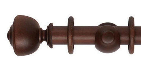 Hallis Museum 35mm Curtain Pole Satin Chestnut Asher Finial - Curtain Poles Emporium