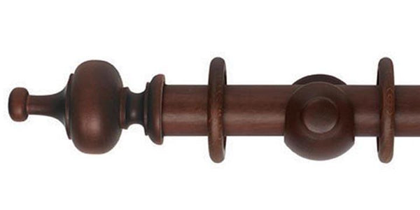 Hallis Museum 35mm Curtain Pole Satin Chestnut Boudoir Finial - Curtain Poles Emporium