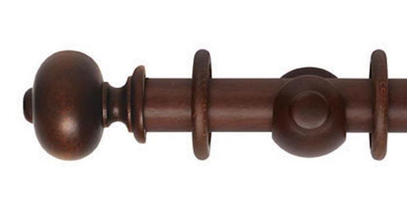 Hallis Museum 35mm Curtain Pole Satin Chestnut Parham Finial - Curtain Poles Emporium
