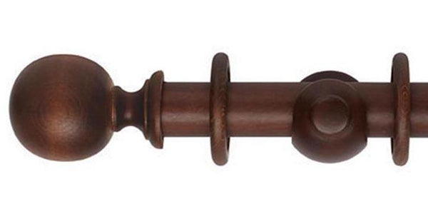 Hallis Museum 35mm Curtain Pole Satin Chestnut Ball Finial - Curtain Poles Emporium