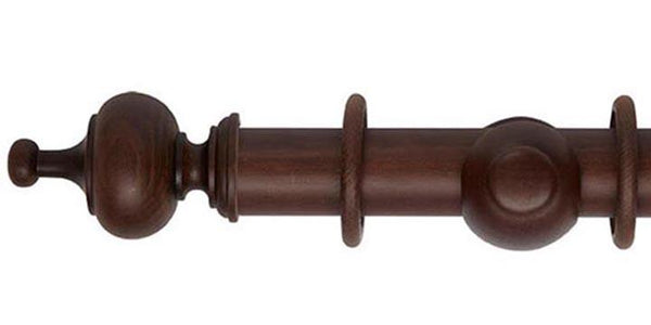 Hallis Museum 45mm Curtain Pole Satin Chestnut Boudoir Finial