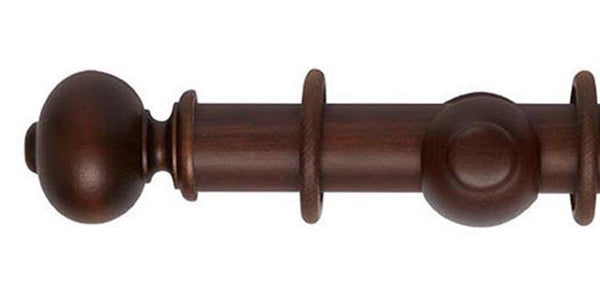 Hallis Museum 45mm Curtain Pole Satin Chestnut Parham Finial