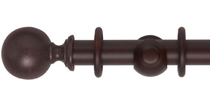 Hallis Museum 35mm Pole Satin Mahogany Ball Finial - Curtain Poles Emporium