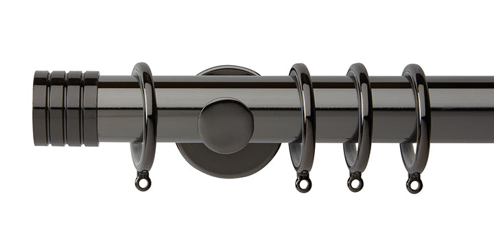 Hallis Neo Original 35mm Black Nickel Curtain Pole Stud Finial Cylinder Bracket - Curtain Poles Emporium
