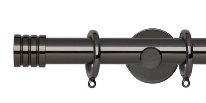 Hallis Neo Original 28mm Black Nickel Curtain Pole Stud Finial Cylinder Bracket - Curtain Poles Emporium