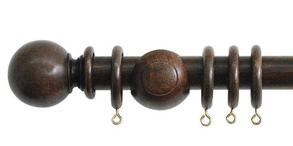 Jones Cathedral 30mm Oak Curtain Pole Plain Ball finial-Curtain Poles Emporium