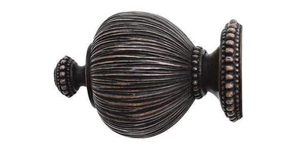 Jones Florentine 50mm Oak Curtain Pole Pleated Finial-Curtain Poles Emporium