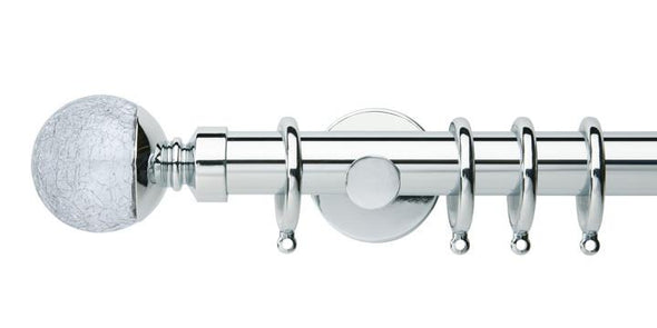 Hallis Neo Style 28mm Crackled Glass Chrome Curtain Pole Cylinder Bracket-Curtain Poles Emporium