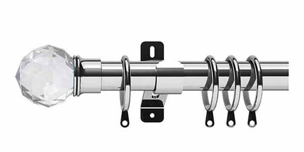 Swish Elements Capella 28mm Chrome Curtain Pole - Curtain Poles Emporium
