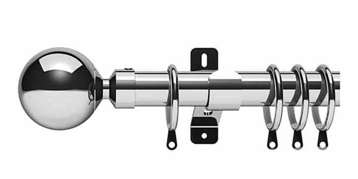 Swish Elements Zorb 28mm Chrome Curtain Pole - Curtain Poles Emporium