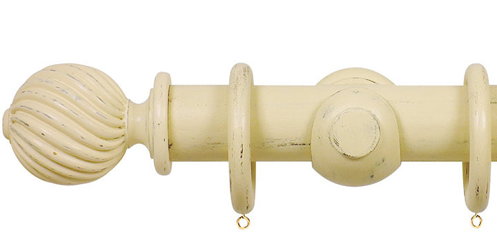 Opus Studio Distressed Cream 48mm Wooden Curtain Pole Twisted Finial