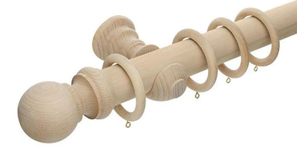 Hallis Unfinished 50mm Wooden Curtain Pole