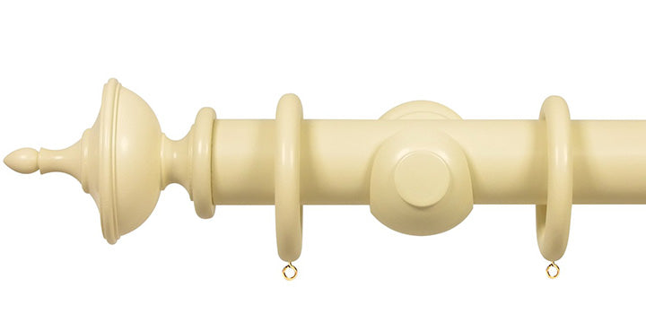 Opus Studio Painted Solid Colour Old Cream 35mm Wooden Curtain Pole Urn Finial