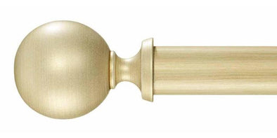Byron & Byron Florentina Tiara 35mm Modern Gold Wood Curtain Pole Set Modern Ball Finial - Curtain Poles Emporium