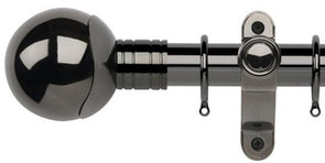 Galleria Metals 35mm Black Nickel Curtain Pole Orb Finial - Curtain Poles Emporium