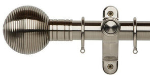 Galleria Metals 35mm Brushed Silver Curtain Pole Ribbed Ball Finial - Curtain Poles Emporium
