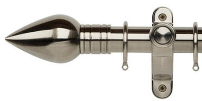 Galleria Metals 35mm Brushed Silver Curtain Pole Teardrop Finial-Curtain Poles Emporium