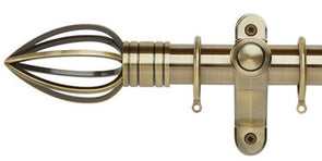 Galleria Metals 35mm Burnished Brass Curtain Pole Caged Spear Finial - Curtain Poles Emporium