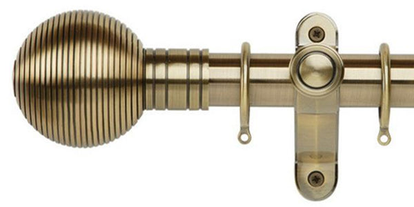 Galleria Metals 35mm Burnished Brass Curtain Pole Ribbed Ball Finial - Curtain Poles Emporium