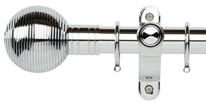 Galleria Metals 35mm Chrome Curtain Pole Ribbed Ball Finial - Curtain Poles Emporium