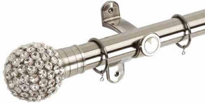 Hallis G2 Galleria 50mm Brushed Silver Pole with Clear Jewelled Cage Ball Finial - Curtain Poles Emporium