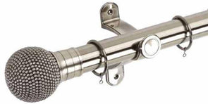 Hallis Galleria 50mm Brushed Silver Pole with Raised Stud Ball Finial - Curtain Poles Emporium