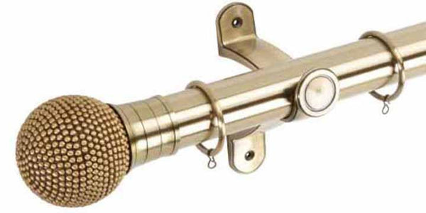 Hallis Galleria 50mm Burnished Brass Pole with Raised Stud Ball Finial - Curtain Poles Emporium