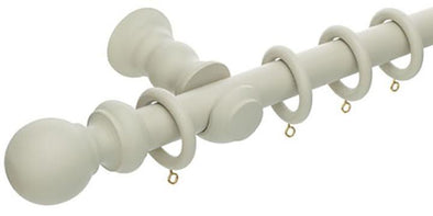 Hallis Honister 28mm French Grey Wooden Curtain Pole - Curtain Poles Emporium