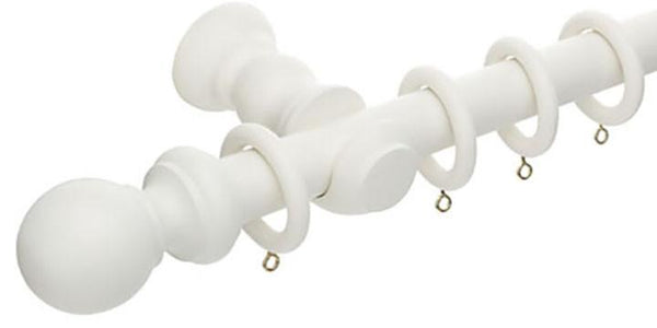 Hallis Honister 28mm Linen White Wooden Curtain Pole - Curtain Poles Emporium