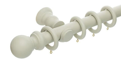 Hallis Honister 35mm French Grey Wooden Curtain Pole - Curtain Poles Emporium