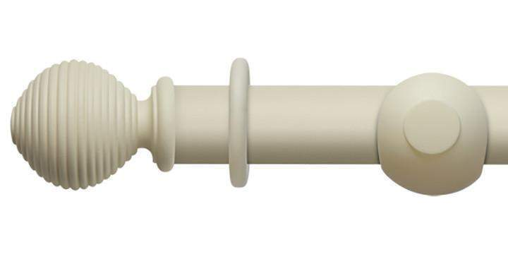 Hallis Modern Country 45mm Pearl Curtain Pole Ribbed Ball Finial - Curtain Poles Emporium