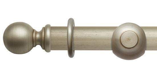 Hallis Modern Country 45mm Satin Silver Curtain Pole Ball Finial - Curtain Poles Emporium