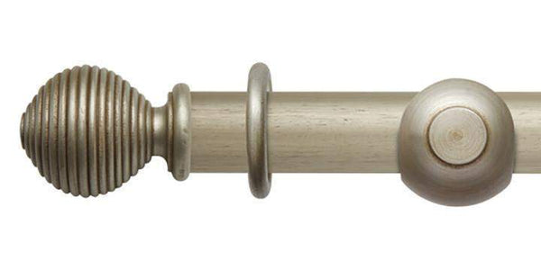 Hallis Modern Country 45mm Satin Silver Curtain Pole Ribbed Ball Finial - Curtain Poles Emporium