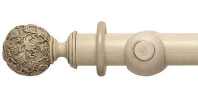 Hallis Modern Country 55mm Brushed Cream Pole Floral Ball finial - Curtain Poles Emporium