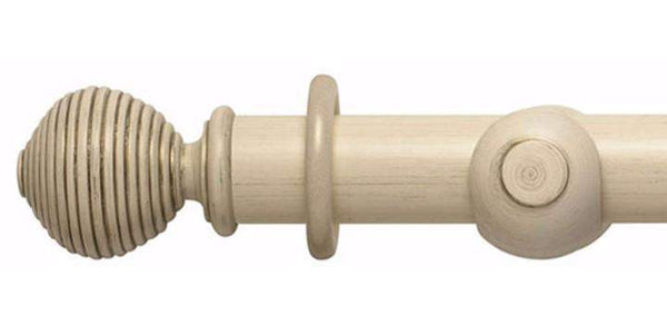 Hallis Modern Country 55mm Brushed Cream Pole Ribbed Ball finial - Curtain Poles Emporium