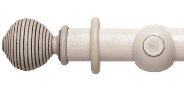 Hallis Modern Country 55mm Brushed Ivory Pole Ribbed Ball finial-Curtain Poles Emporium