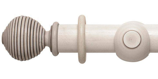 Hallis Modern Country 55mm Brushed Ivory Pole Ribbed Ball finial - Curtain Poles Emporium