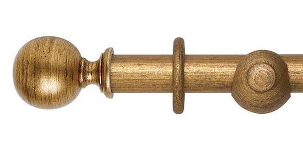 Hallis Museum 35mm Antique Gilt Curtain Pole Ball Finial - Curtain Poles Emporium
