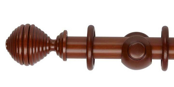 Hallis Museum 35mm Antique Pine Curtain Pole in Dune Finial - Curtain Poles Emporium