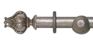 Hallis Museum 35mm Antique Silver Curtain Pole Vienna Finial - Curtain Poles Emporium