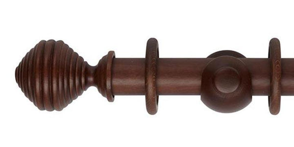 Hallis Museum 35mm Curtain Pole Satin Chestnut Dune Finial - Curtain Poles Emporium