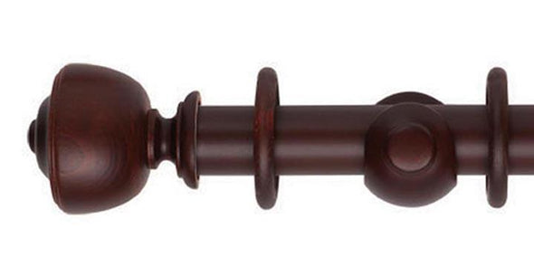 Hallis Museum 35mm Pole Satin Mahogany Asher Finial - Curtain Poles Emporium