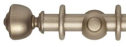 Hallis Museum 35mm Satin Oyster Curtain Pole Asher Finial - Curtain Poles Emporium