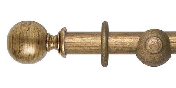Hallis Museum 45mm Antique Gilt Curtain Pole Ball Finial-Curtain Poles Emporium