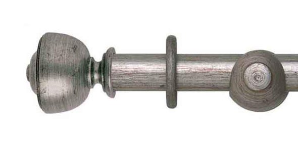 Hallis Museum 45mm Pole in Antique Silver Asher Finial-Curtain Poles Emporium