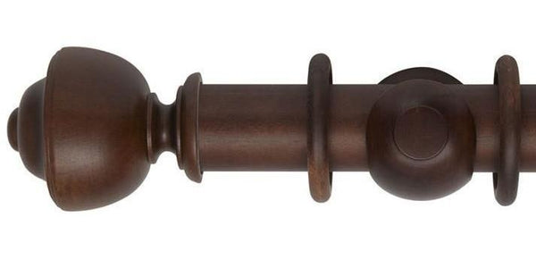 Hallis Museum 55mm Curtain Pole Satin Chestnut Asher Finial-Curtain Poles Emporium