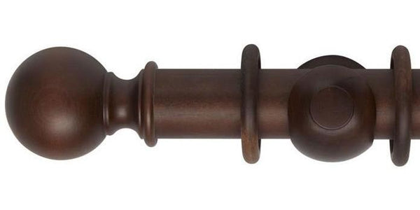 Hallis Museum 55mm Curtain Pole Satin Chestnut Ball Finial-Curtain Poles Emporium