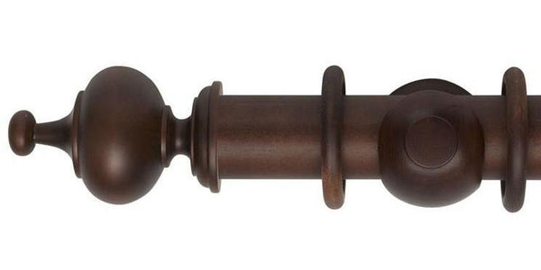 Hallis Museum 55mm Curtain Pole Satin Chestnut Boudoir Finial-Curtain Poles Emporium